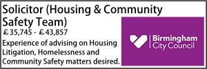 Birmingham Oct 21 Solicitor (Housing & Community Safety Team)