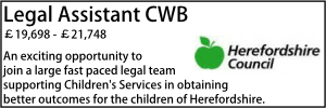 Herefordshire Oct 20 Legal Assistant
