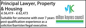 Milton Keynes Oct 21 Principal Lawyer, Property & Housing