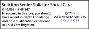 Wolverhampton Oct 21 Senior solicior social care