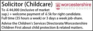 Worcestershire Dec 19 Solicitor Childrens
