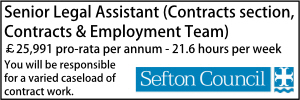 Sefton April 21 Senior Legal Assistant Contracts