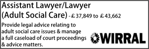 Wirral Aug 20 Assistant Lawyer Adult
